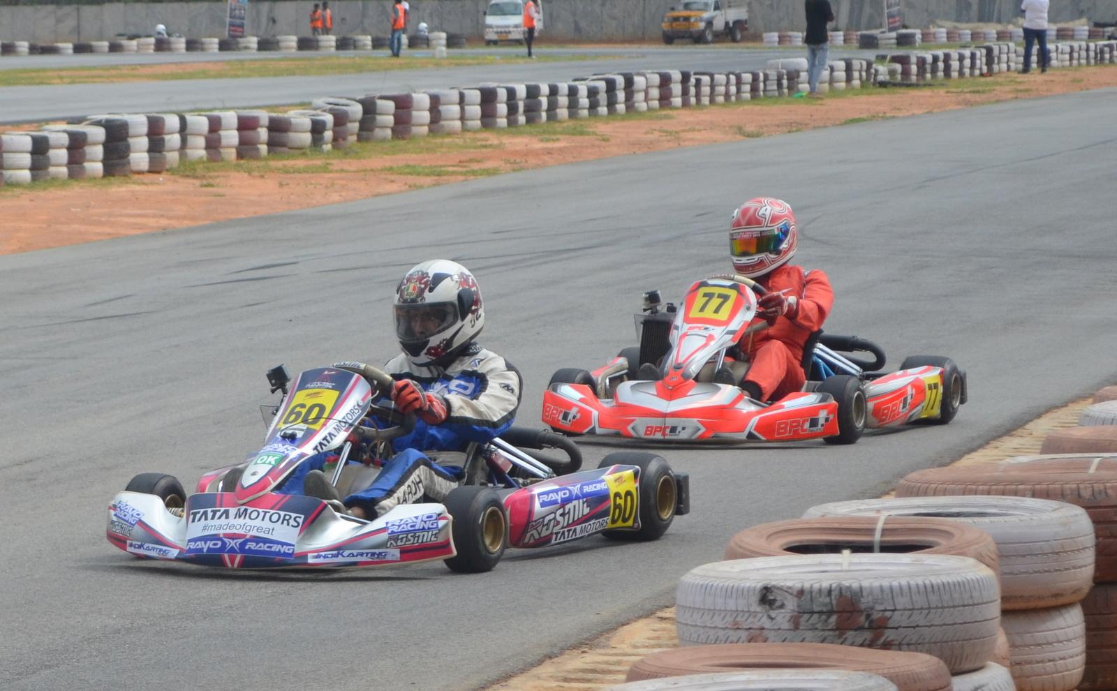 BPC Racing's Manav Sharma chases Rayo Racing's Aaroh Ravindra
