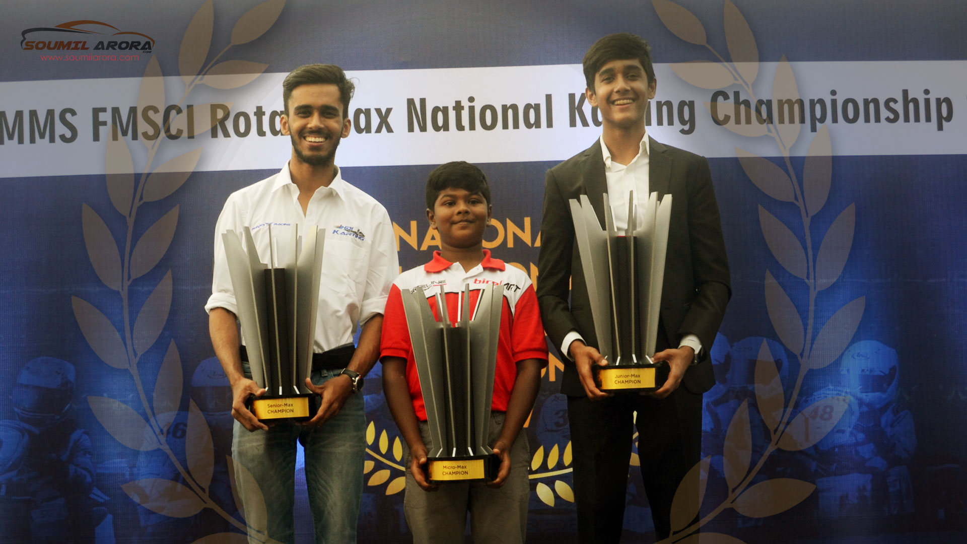 Aaroh Ravindra, Ruhaan Alva and Yash Aradhya on the Podium