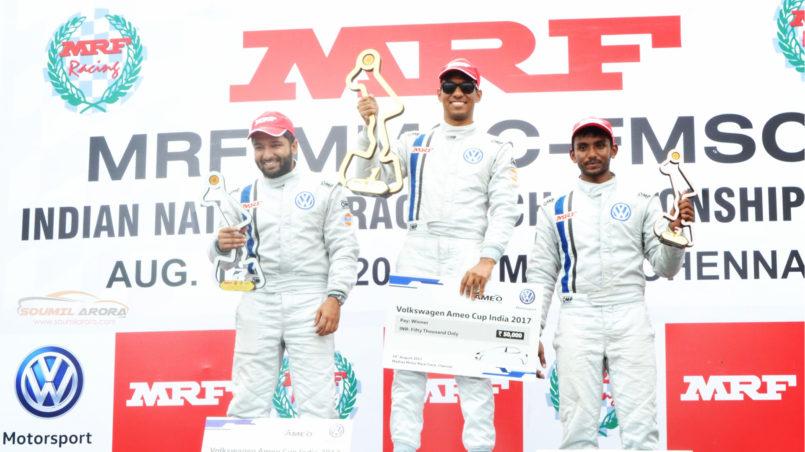 Saurav Bandyopadhyay On Podium: MRF MMSC Volkswagen AMEO Cup 2017. MMRT, Chennai