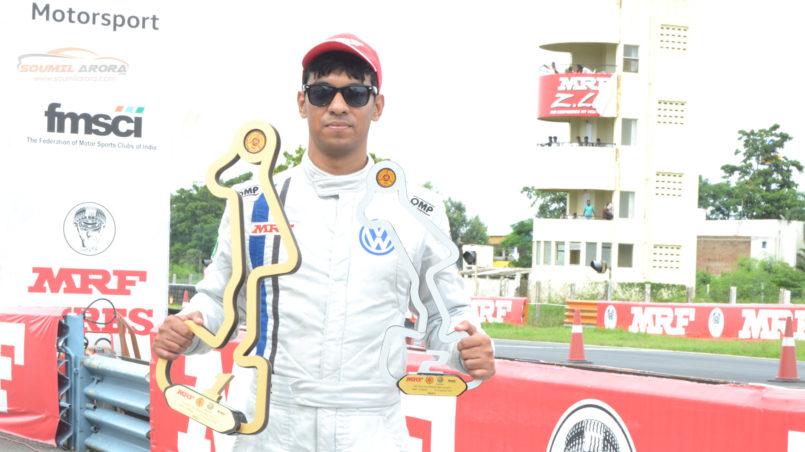 Saurav Bandyopadhyay with Trophy: MRF MMSC Volkswagen AMEO Cup 2017. MMRT, Chennai