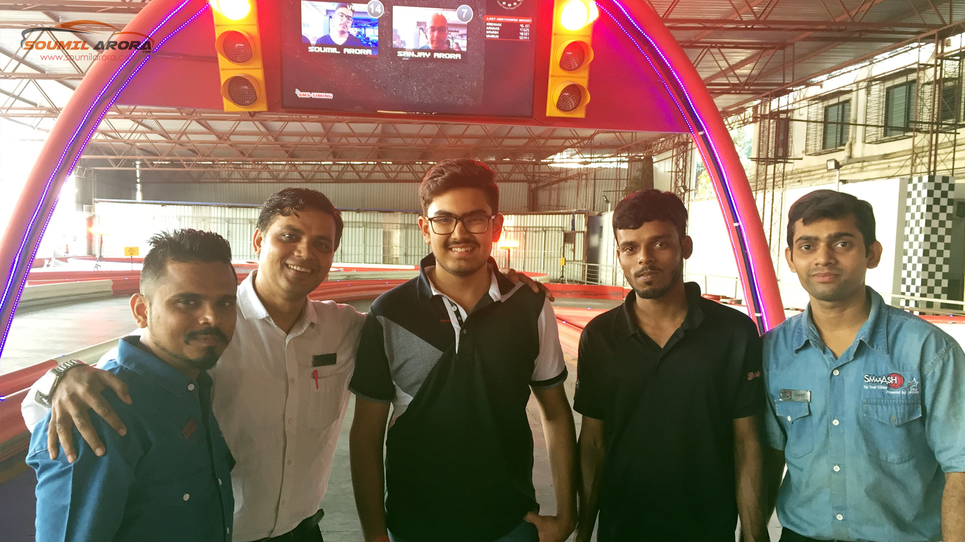 soumil arora at smaaash mumbai karting track support staff