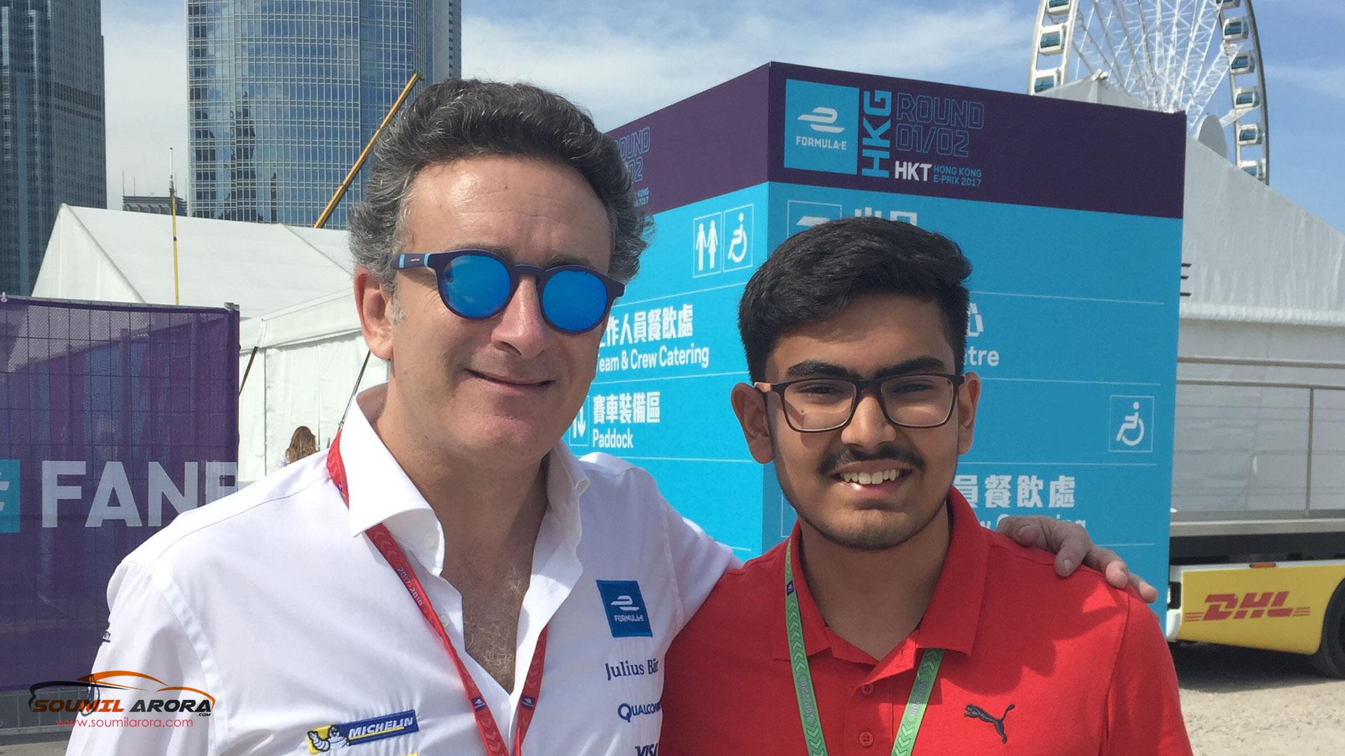 Soumil Arora with Alejandro Agag Formula-E, Hong-Kong 2017