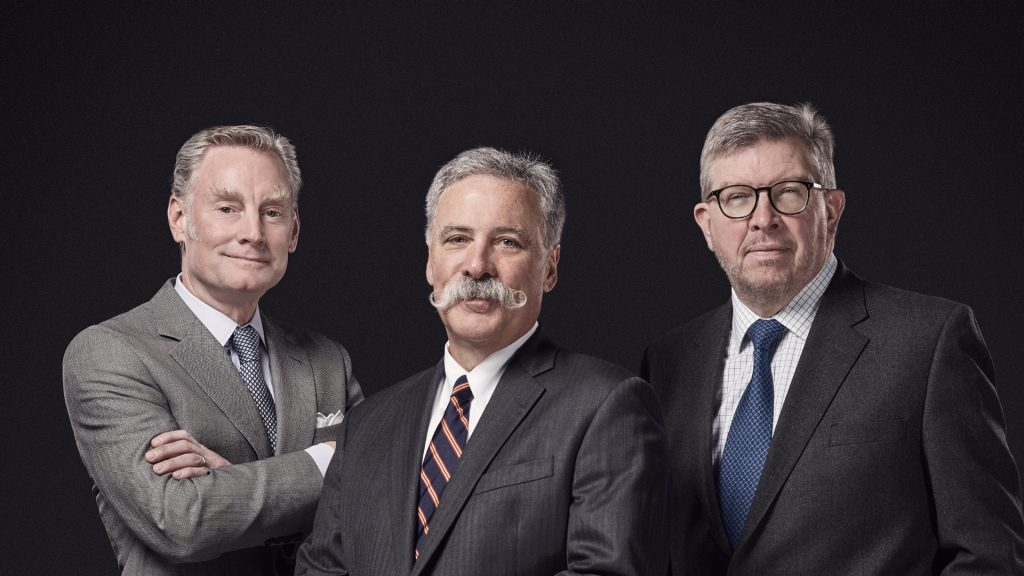 Sean Bratches, Chase Carey and Ross Brawn F1 Engineered Insanity