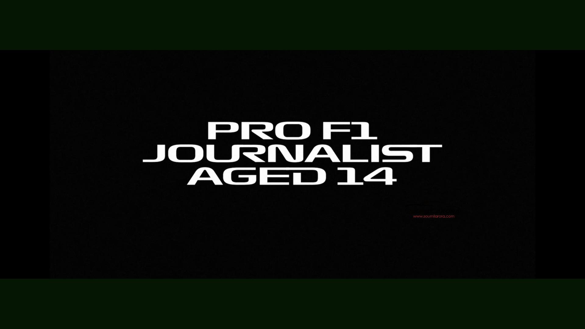 Formula 1 Engineered Insanity F1 Super Fan Soumil Arora Aged 14 Pro F1 Journalist